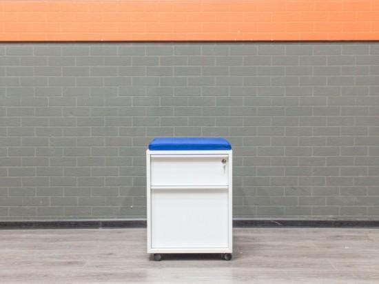 Тумба офисная с пуфиком, металл, синяя ткань