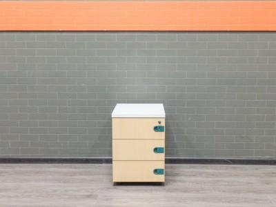 Тумба офисная подкатная, бук, зеленый, белый