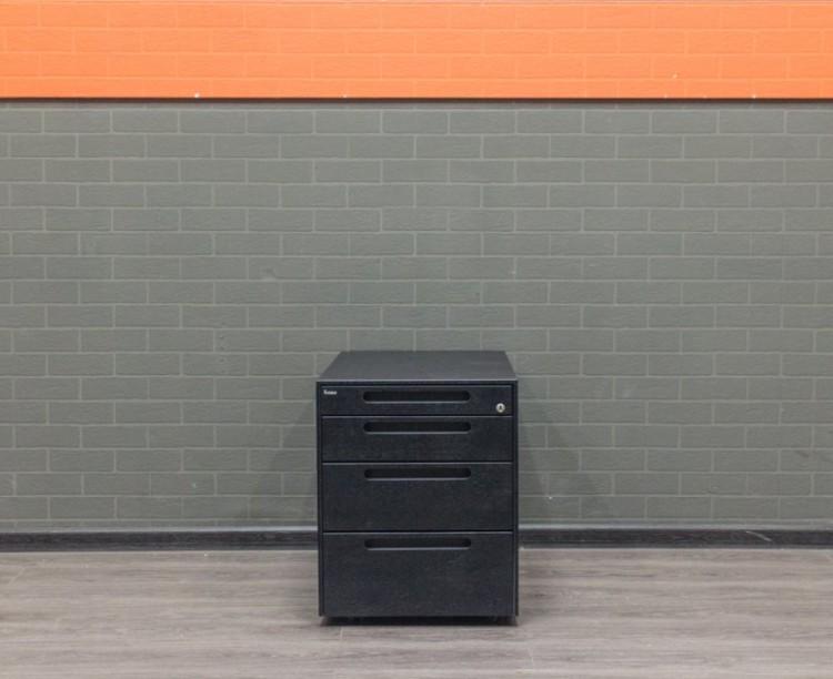 Тумба офисная Bene, графит, металл, 4 ящика