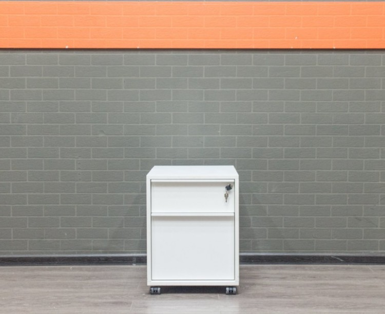 Тумба офисная белая, подкатная, 2 ящика