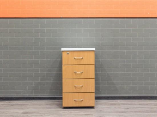 Тумба офисная приставная, 4 ящика, бук и белый