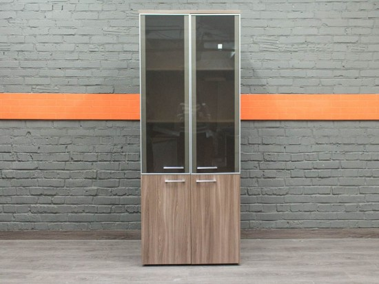 Шкаф со стеклом новый Business, ясень Шимо