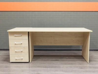 Стол офисный новый с тумбой Style, клен