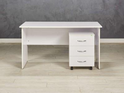 Стол офисный прямой с подкатной тумбой, цвет белый глянец