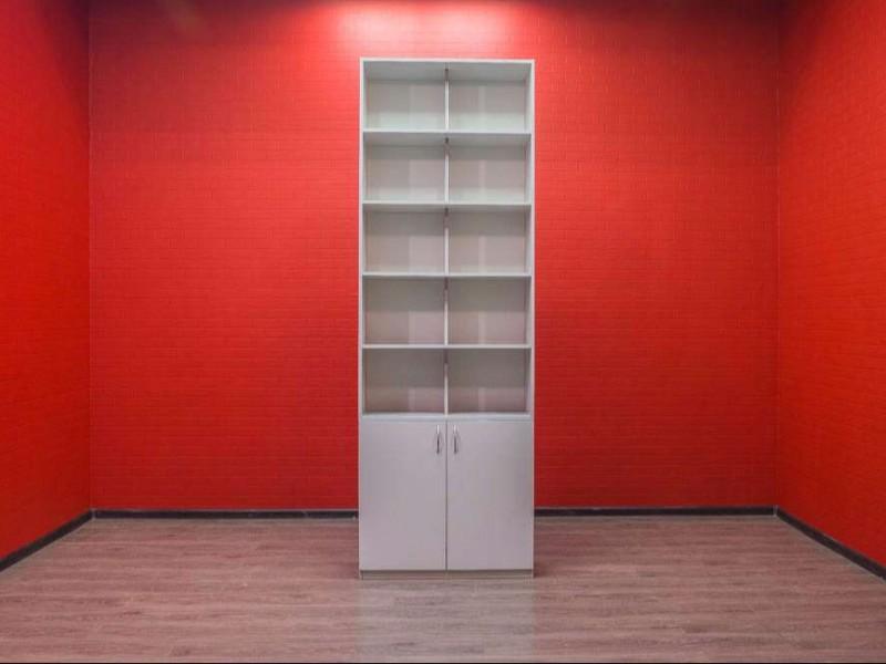 Шкаф офисный стеллаж серый